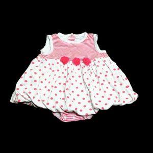 Girls Little Me 9m Dress Pink Polka Dot Stripe